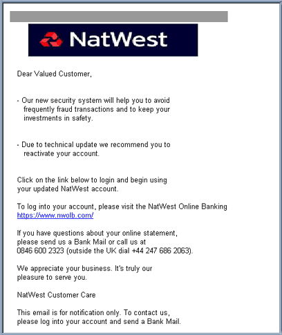 Nat West Bank Security Update email scam.